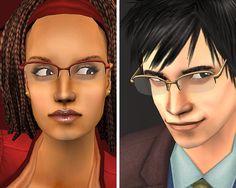 Mod The Sims - TS3 Conversion : Oval & Half Rim Glasses