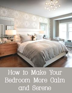 Many people desire a bedroom that is their refuge at the end of the day. They want a bedroom that is calming and creates serenity. Here are several ways to decorate your bedroom to make it more calm and serene. - March 10 2019 at Sanctuary Bedroom, Bedroom Makeover, Serene Bedroom, Bedroom Diy, Relaxing Master Bedroom, Relaxing Bedroom, Peaceful Bedroom, Remodel Bedroom, Master Bedroom Retreat
