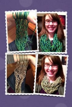 Two arm-knitted scarves - quick crafts. Each took only 30-45 minutes! How To: http://www.simplymaggie.com/arm-knitting-how-to