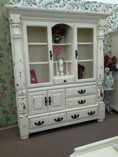 Sold - Rustic 2 Piece China Hutch - Painted creamy white and distressed with black hardware. - ***** In Booth H12 at Main Street Antique Mall 7260 E Main St (east of Power RD on MAIN STREET) Mesa Az 85207 **** Open 7 days a week 10:00AM-5:30PM **** Call for more information 480 924 1122 **** We Accept cash, debit, VISA, Mastercard, Discover or American Express