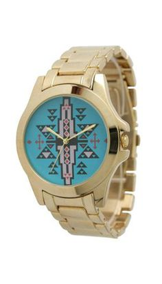 Gold and Turquoise Aztec Watch