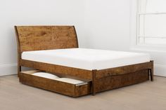 DIY Bed Frames - Our Madrid bed has been beautifully handmade with a gently curved headboard to b. Grown Up Bedroom, Home Bedroom, Home Living Room, Master Bedroom, Wood Canopy Bed, Wooden Bed Frames, Wooden Beds, Minimalist Bed, Diy Bed Frame