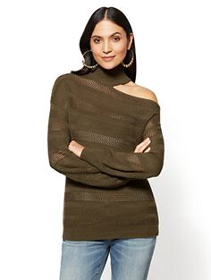 6f5d9f1c6f4 One-Shoulder Choker Sweater. New York And CompanyChic ...