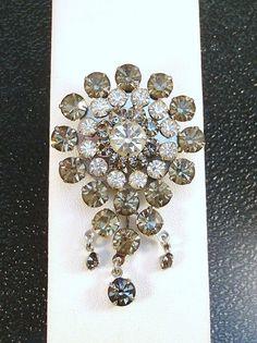Vintage Sparkling Brooch with Black Diamond Rhinestones via Etsy