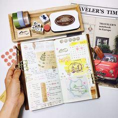 #travelersnotebook #midori #midoritravelersnotebook #travelersnote #planner #weekly #travelerscompany #journal #maskingtape #washitape #classiky #diary #트래블러스노트 #vintagestamp #tokyoantique Week 18 / 2017 ✍🏻 🌿