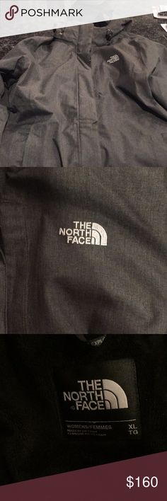 Like new women's north face winter jacket Darker gray with black inside with hood. North Face women XL Hyvent. Bought jacket last year wore a couple times and no longer fits due to loosing weight. This jacket will cover your butt  The North Face Women's Inlux Insulated Jacket is a waterproof jacket for getting it all done in the outdoors. DryVent 2L fabric shields you from wet Snow, rain or sleet and Heatseeker Insulation warms the body. Soft raschel fleece (or Sherpa) lines the body and…