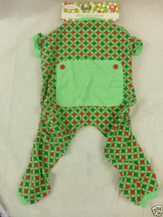 Dog Pajamas Christmas Red & Green Faux Back Flap With Buttons Medium New