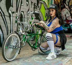 Arte Lowrider, Lowrider Bicycle, Chica Chola, Estilo Chola, Chola Girl, Cholo Style, Gangsta Girl, Harley Bikes, Chicano Art