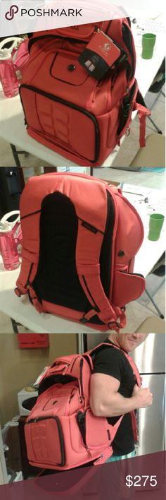 6PACK FITNESS backpack  4meal prepping on the go! NWT!!!Brand new never used,Very big bag for meal prepping has 6 plastic containers for food storage or pill suppliment storage w/inserts&gel freezer cold pack.Has a ton of pockets,one for a pair of shoes,a laptop pocket,a shaker cup pocket,a pocket for your wallet,sunglasses, and keys,a section to hold clothes and a bottom pocket that can extend down making the bag longer that is also vented to store dirty gym clothes to keep the inside of…