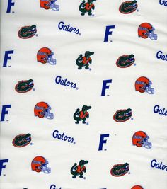 "University of Florida Gators Cotton Fabric 43"" - White"