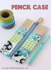 Pencil case tutorial - basic but cute. See those stripes? Those could be pockets....