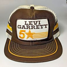 61434295c5e3be Details about Vtg Levi GARRETT 5 Star BIG PATCH Brown 3 STRIPE Mesh Snapback  Trucker Hat USA