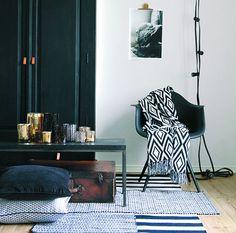 Bavlněný přehoz Black&White Harlequin | Nordic Day Bella Rose, Black Wood, Office Desk, Plaid, Black And White, Table, Furniture, Home Decor, Gingham