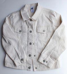 Girls Gap Cream Denim Jacket, Size 5/6