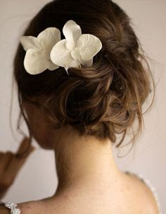 Set of 2 Orchid Hair Flowers - Orchid Hair Pin - Bridal Hair Flower - Lace Hair Piece - Ivory Wedding Hair Flowers, Bridal Flowers, Flowers In Hair, Bridal Hair Pins, Wedding Hair And Makeup, Bridal Nails, Beauty And More, Short Hair Updo, Tousled Hair