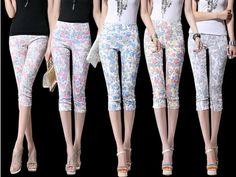 S~XXXL New 2014 Fashion Women Pants High-Elastic Thin Jacquard Leggings Pencil Pants Five Colors Print Capri Pants Free Shipping $16.82