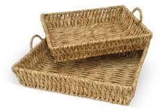 Asst. of 2 Basket Trays, Brown