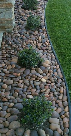 45 simple front yard landscaping ideas on a budget 18 - front yard landscaping simple River Rock Landscaping, Landscaping With Rocks, Front Yard Landscaping, Landscaping Design, Landscaping Plants, Outdoor Landscaping, River Rock Patio, Decorative Rock Landscaping, Colorado Landscaping