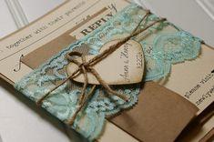 Invitaciones de boda rústica: Encaje en caja única e invita a