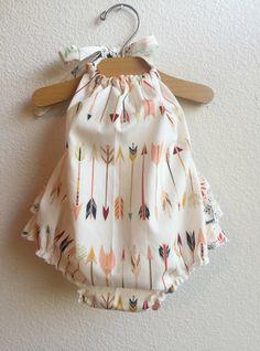 Little Arrows Ruffled Baby Girl Romper by ALittleArrow on Etsy https://www.etsy.com/listing/239750925/little-arrows-ruffled-baby-girl-romper