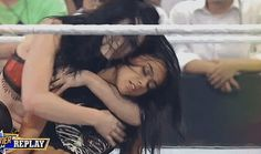 wwe paige kisses AJ Lee on the cheek gif - Google Search