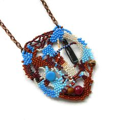 Freeform pendant colorful beaded necklace beaded by Anabel27shop