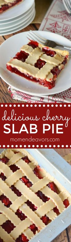 A delicious cherry slab pie recipe – for an easier way to serve up pie for parties or holidays. Regular pie, hand pies, slab pie R… Sweets Recipes, No Bake Desserts, Cupcake Recipes, Pie Recipes, Easy Desserts, Delicious Desserts, Family Recipes, Recipies, Cherry Desserts