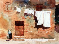Wash Day Monteriggioni | Watercolor 10 X 14 I photographed t… | Flickr
