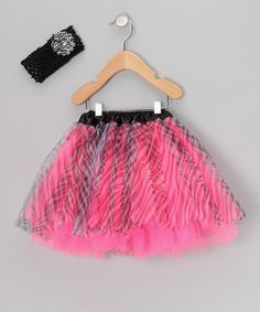 This Dance Bug Hot Pink Zebra Tutu & Headband - Infant, Toddler & Girls by Dance Bug is perfect! #zulilyfinds