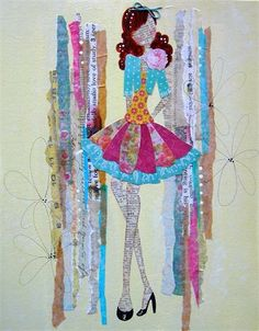 New take on paper doll collage. Cute idea for little girls room in a frame! Look for craft book Collage Couture by Julie Nutting. Prima Paper Dolls, Prima Doll Stamps, Book Crafts, Arts And Crafts, Paper Crafts, Mix Media, Penny Candy, Girl Artist, Quilted Wall Hangings