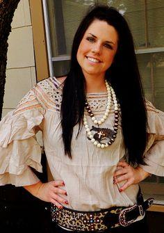Tan Crochet Layered Sleeve Shirt #ItsACowgirlThing