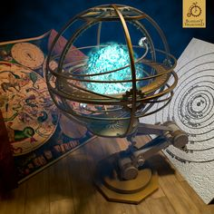 """Armillary sphere by Kurczak Digital Art / 3-Dimensional Art / Objects / Tools  ©2012-2013 Kurczak Steampunk themed armillary sphere!   """"Finally after hours and hours of test renders and finally i've found the lightning that i'm happy with :)"""""""