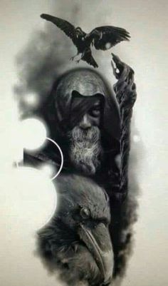 Odin and his ravens. Odin is the Norse god of magic, divinity, and foresight, as well as the king of Asgard and the God of wisdom and knowledge Hugin Munin Tattoo, Fenrir Tattoo, Norse Tattoo, Viking Tattoos, Valkyrie Tattoo, Armor Tattoo, Warrior Tattoos, Panzer Tattoo, Body Art Tattoos