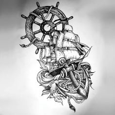 Ship Anchor Wheel Tattoo In Sketch Style Tattoo Design
