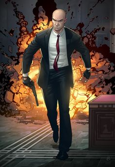 Hitman Absolution Launch - Illustration of Agent 47 walking away from an explosion. One of many character designs by Patrick Brown on deviantART