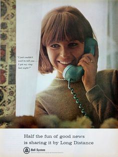 1965 ad Bell Telephone System Pretty Woman Blue Telephone Vintage Print ad #Bell