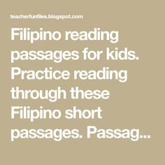 Filipino reading passages for kids. Practice reading through these Filipino short passages. Passages include the following:     Sino ako?... Story For Grade 1, Short Passage, Reading Charts, Beginning Reading, Visual Aids, Tagalog, Reading Passages, Picture Cards, Kindergarten Teachers