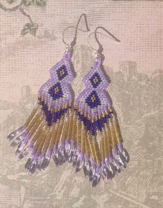 Delphiniums - Hand beaded fringe earrings £15.00