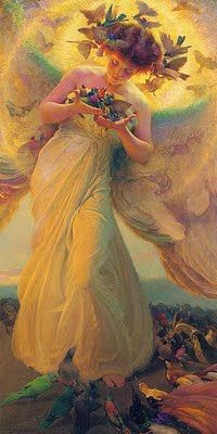 Angel of Birds, 1910 by Franz Dvorak. I'm partial to angels and birds too come to think of it...Imagery...soft, flowing, glowing