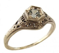Antique Style Filigree 4.0 to 4.5mm Round Shape Ring Setting
