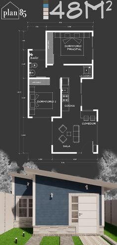Micro House Plans, Narrow House Plans, My House Plans, House Floor Plans, Small Bungalow, Modern Bungalow House, Bungalow House Plans, House Gate Design, Small House Design