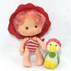 "Vintage Strawberry Shortcake Doll Cherry Cuddler In ""Berry Wet"" Wear & Goose #5  