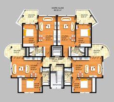 Model House Plan, Dream House Plans, House Floor Plans, Apartment Layout, Apartment Design, One Room Houses, Architectural Floor Plans, Villa Plan, Apartment Floor Plans