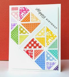 handmade quilt card from The Queen's Scene: Quilted Happy Birthday ... triangle squares  ... bright and light ... Paper Trey Ink ...