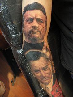 Sick realistic tattoo of Rovert DeNiro by Chris Nieves.  Australian Tattoo Scene. #tattoo #tattoos #ink