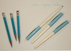 Museum of Forgotten Art Supplies - Non-Repro Blue Tools - Pencils, Erasers, etc.