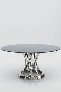 30 Small Round Glass Table Designs For Dining Room - Glass Top Dining Table, Furniture Dining Table, Modern Dining Table, Round Dining Table, Furniture Decor, Dinner Room, Rustic Chair, Steel Furniture, Home And Deco