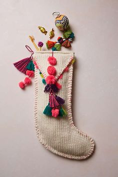Anthropologie - Pom Tassel Stocking