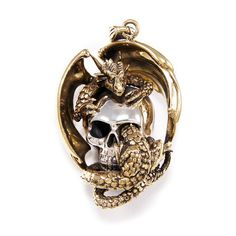 Skull/Drake/Brass Sterling Silver Pendant/Silver Skull Pendant/Drake Charm/Gothic/Skull/B Skull Pendant, Dragon Pendant, Silver Skull Ring, Gothic Rings, Silver Dragon, Chains For Men, Sterling Silver Pendants, Drake, Biker