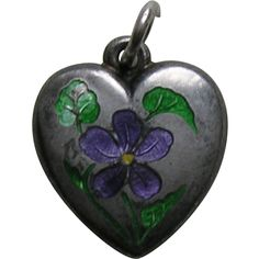 Antique Enameled Violet Sterling Heart Charm from redrobinantiques on Ruby Lane
